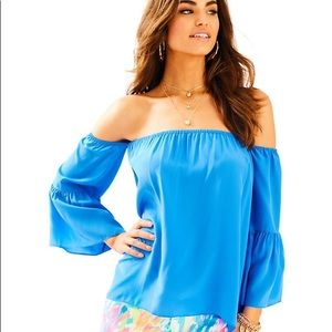 Lilly Pulitzer Blue Silk Off The Shoulder Top